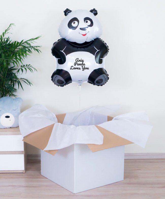 balon panda z helem na urodziny