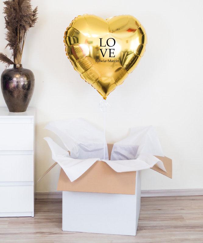 Balony złote serce gigant z helem – LOVE