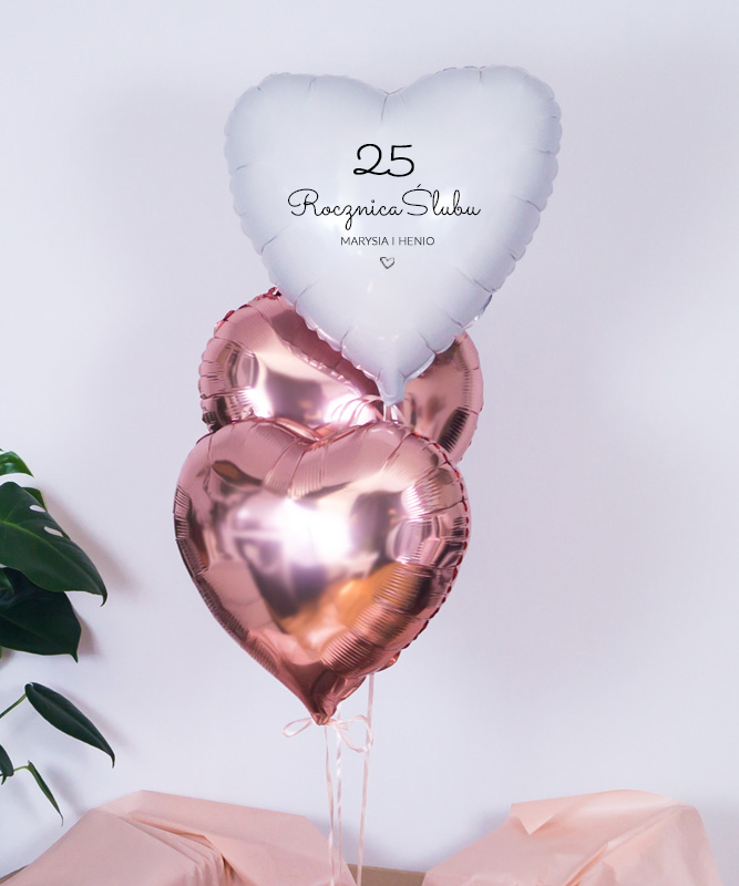 Balony z helem na 25 rocznicę ślubu z personalizacją
