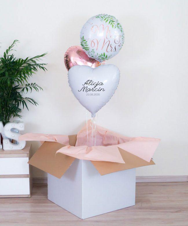 balony w pudełku na wesele
