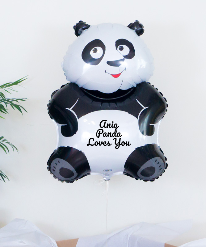 Balon z helem oraz imieniem – Panda Loves You