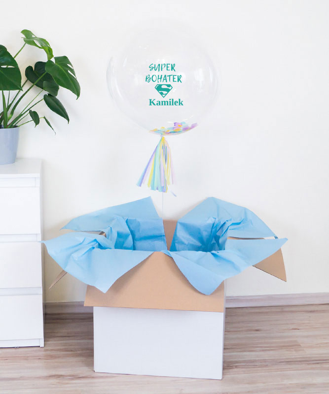 Balon kula z helem dla chłopca – Super Bohater + imię