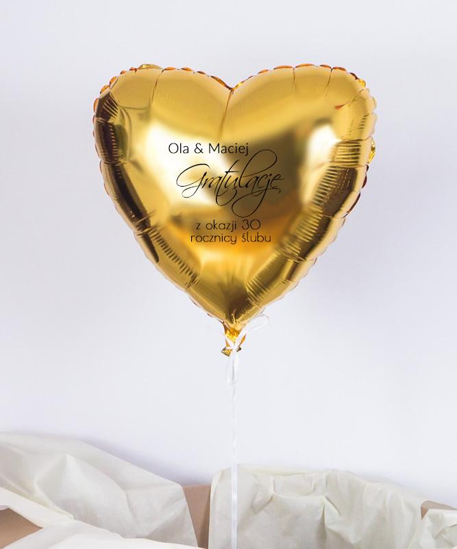 Balon złote serce z helem na prezent – Gratulacje