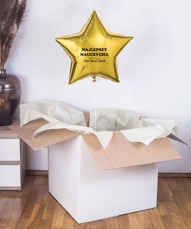 Balon złota gwiazdka z helem dla nauczyciela + personalizacja