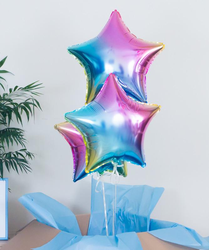 Balony gwiazdki z helem w pudełku – Pastelowe