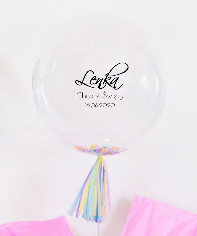 Balon kula z konfetti na Chrzest dla dziewczynki