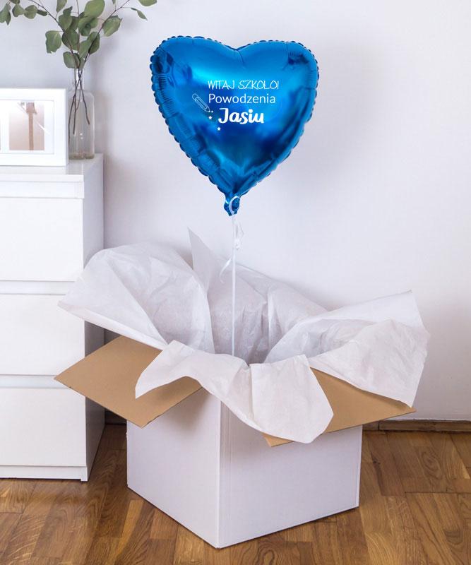 Balon z helem niebieskie serce – Witaj szkoło