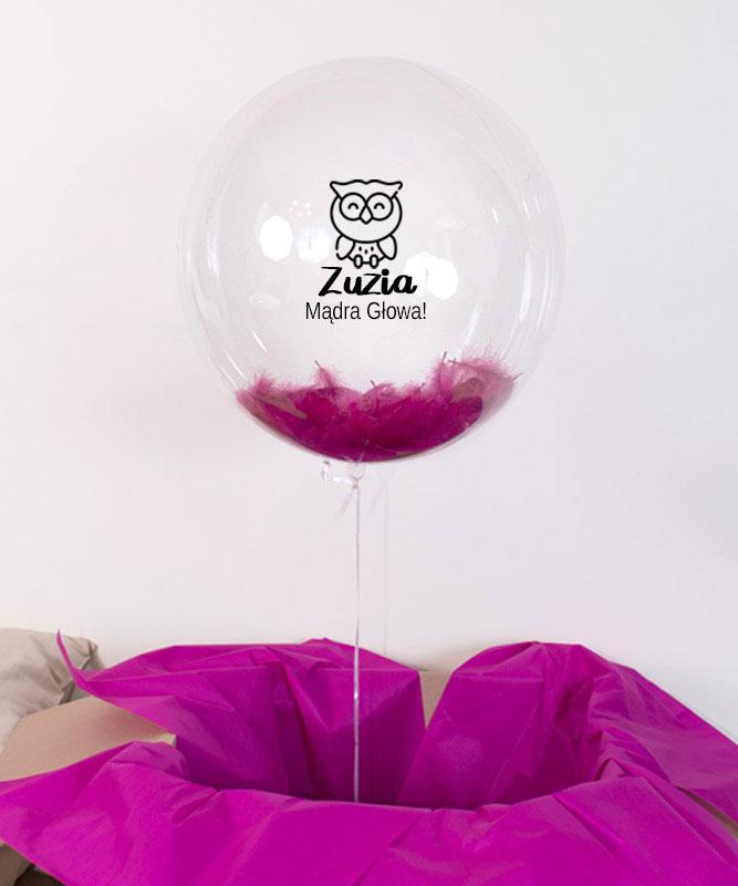 Balon kula z helem – Sowa Mądra Głowa z imieniem dziecka