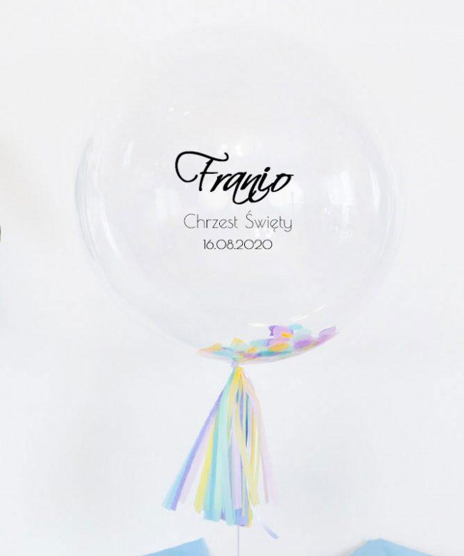 balon z imieniem dziecka na chrzest
