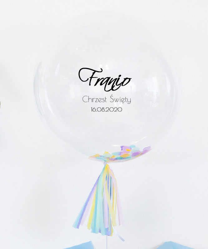 Balon kula z konfetti na Chrzest Święty dla chłopca