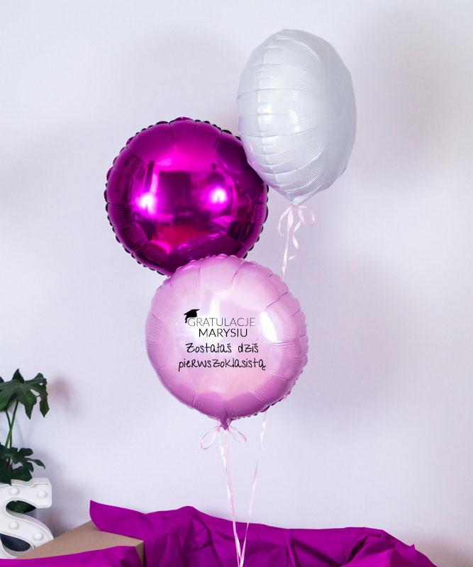 Balony z helem w pudełku dla pierwszoklasisty z imieniem
