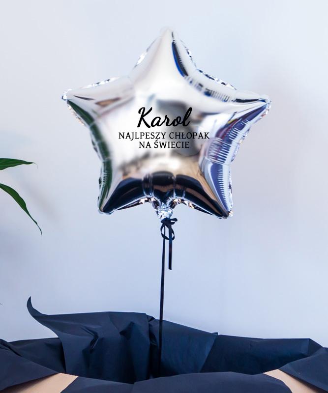 Balon srebrna gwiazdka z helem – Najlepszy chłopak