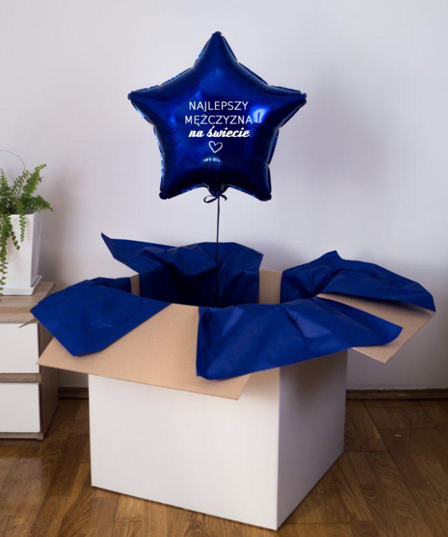 balon gwiazdka z helem w pudełku