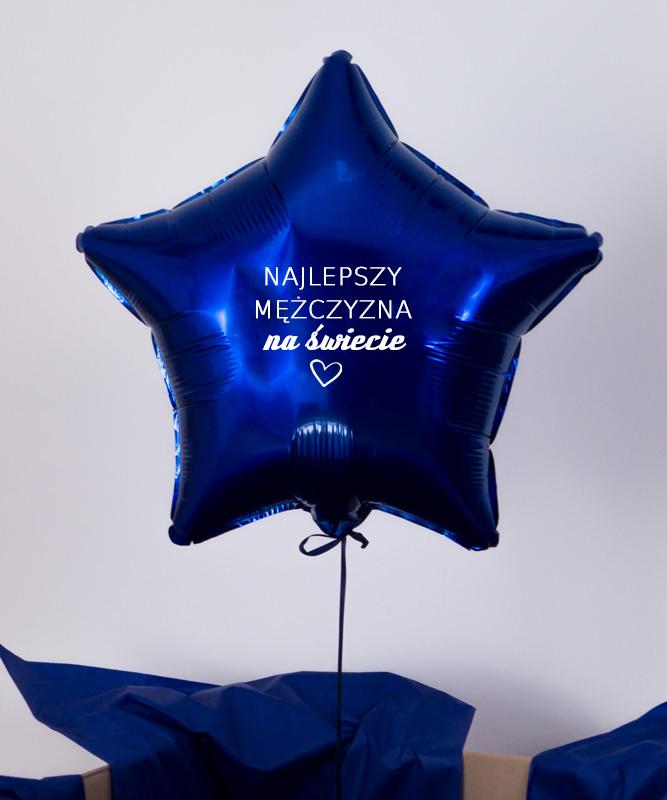 Balon granatowa gwiazdka z helem – Najlepszy Mężczyzna Na Świecie