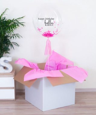 balon różowy z konfetti