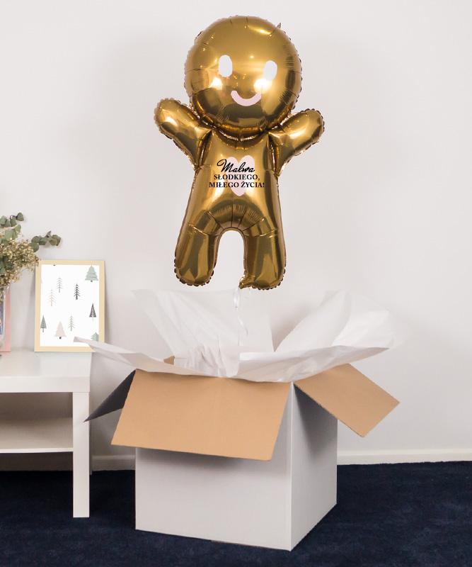 Balon z helem ciastek ze Shreka w pudełku na prezent