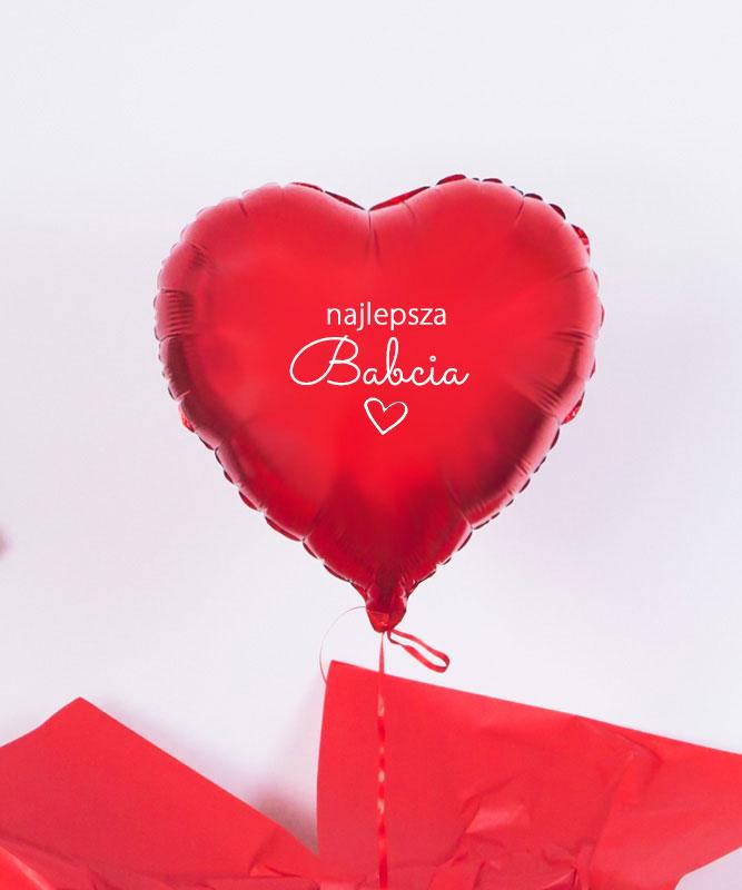 Balon z helem czerwone serce – Najlepsza Babcia