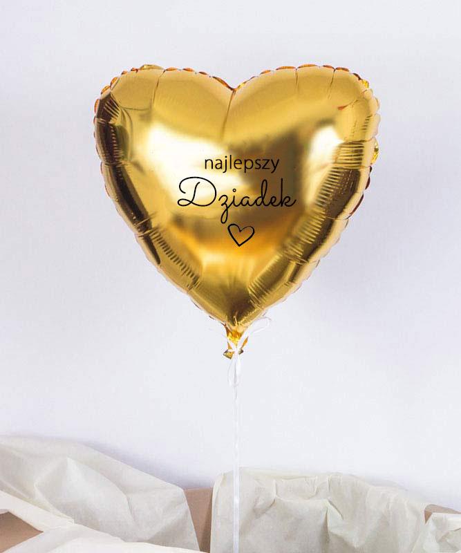 Balon z helem złote serce – Najlepszy Dziadek
