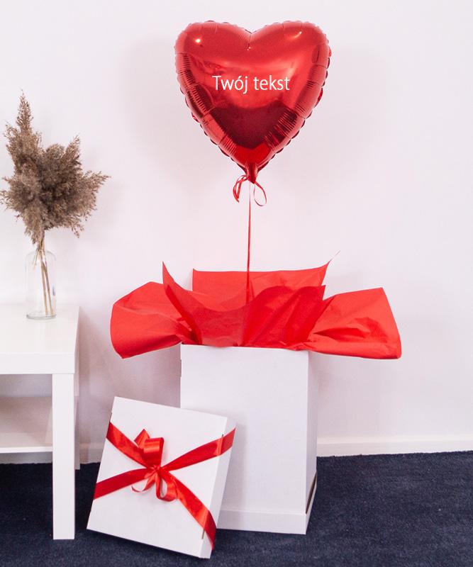Balon czerwone serce z helem z Twoim napisem