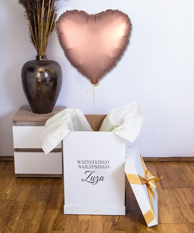 Balon złote serce z helem w pudełku na prezent – Wszystkiego Najlepszego