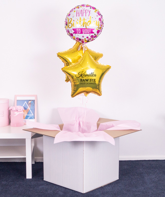 balony z helem w pudełku na prezent