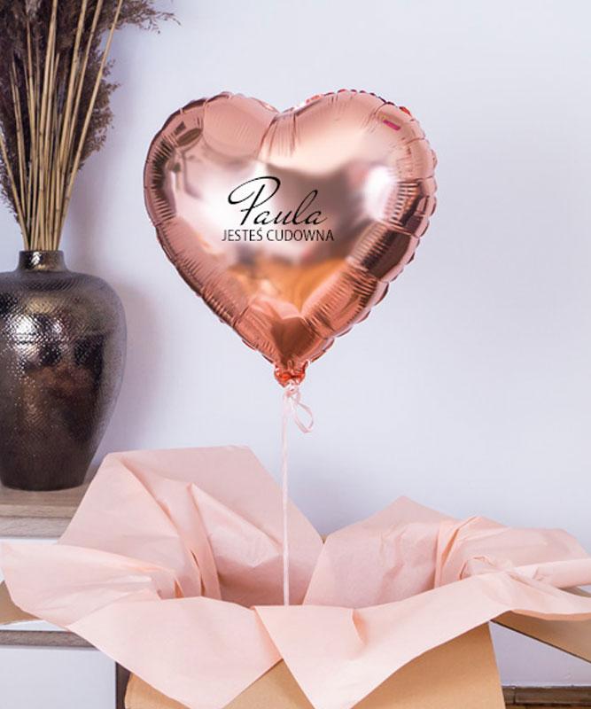 Balon serce różowe złoto na prezent – Jesteś Cudowna