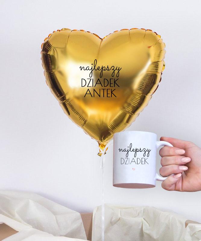 Balon z helem złote serce w pudełku dla Dziadka