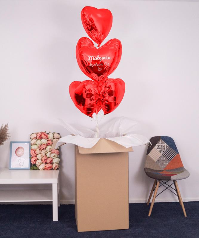 PudÅ'o niespodzianka – czerwone serca z helem 7x miÅ'ość