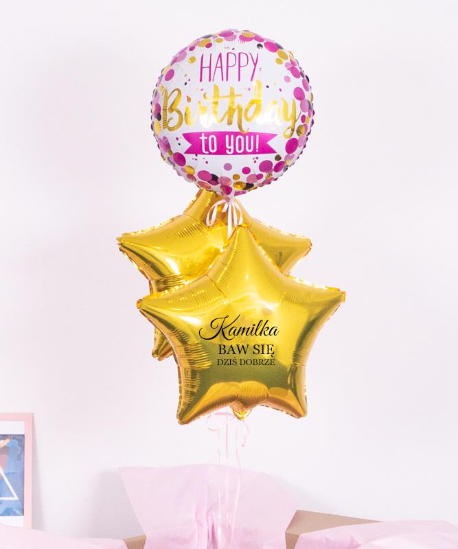 Złote TRIO – urodzinowe balony z helem Baw Się Dziś Dobrze