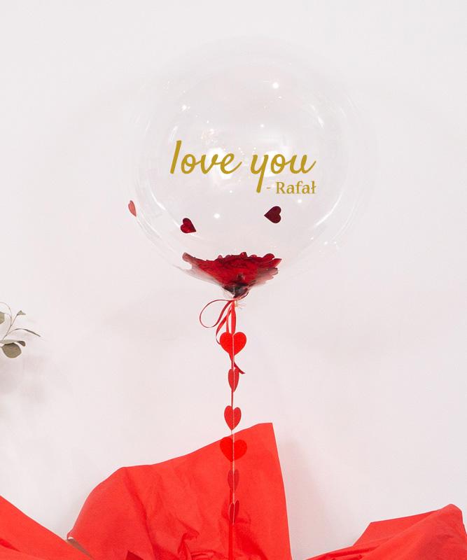 Personalizowany balon kula z helem w pudełku – Love You