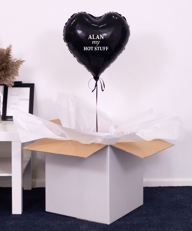 Balon czarne serce z helem – Hot Stuff