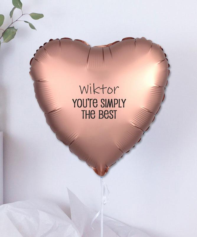 Balon z helem w kształcie serca + imię – Simply the best