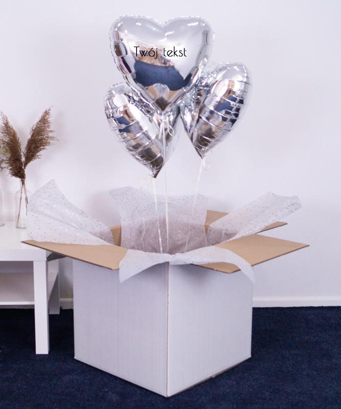 Trio balonowe w pudełku + Twój napis