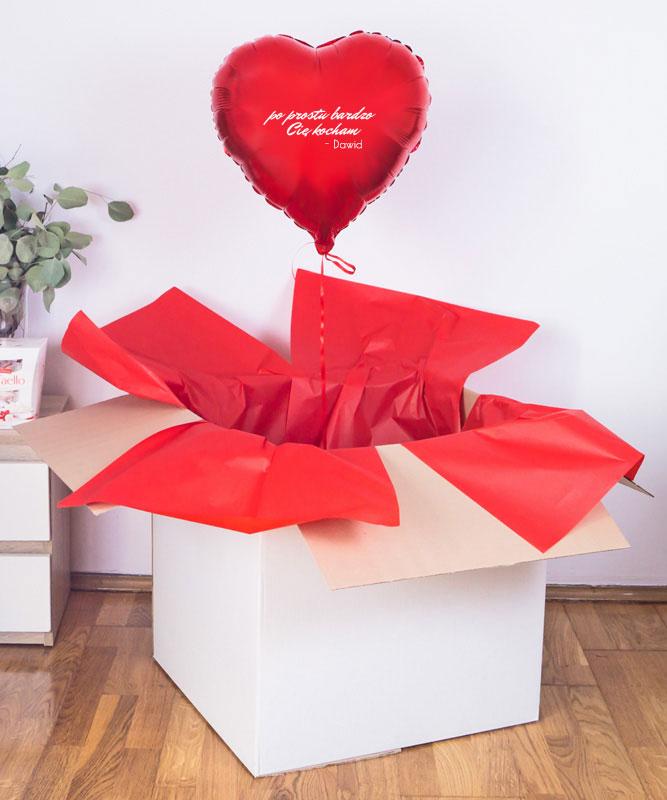 """Prezent na walentynki – Balon serce z helem w pudeÅ'ku """"Po prostu"""""""