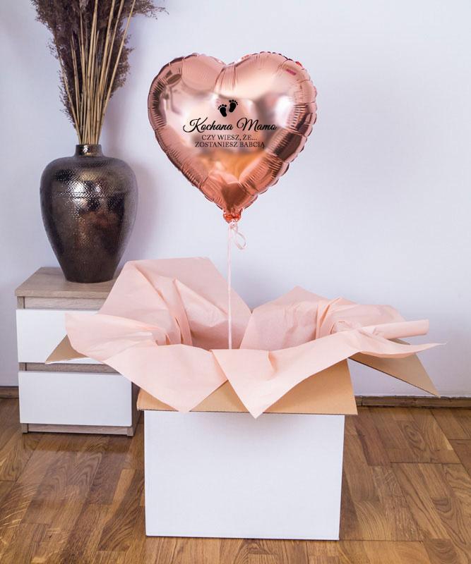Balon z helem w kształcie serca – Zostaniesz Babcią