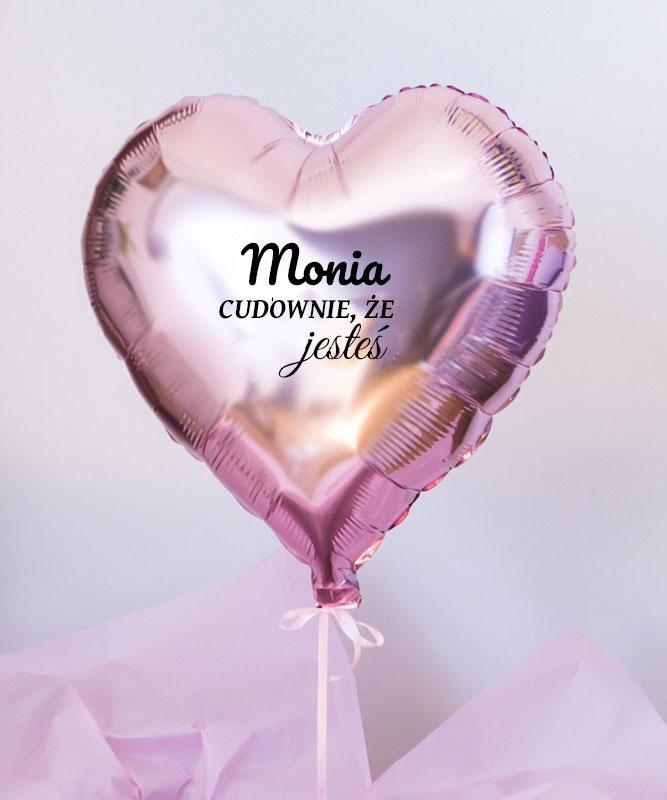 Balon różowe serce z helem w pudełku – Cudownie, że jesteś