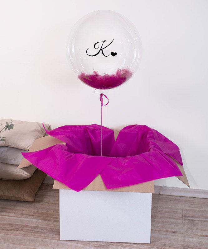Balon kula z helem w pudełku z napisem – Serducho dla Niej