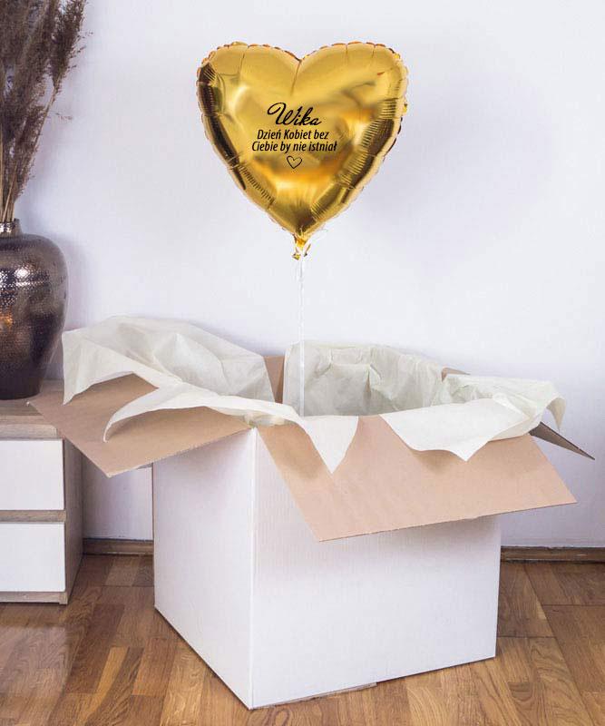 balon złote serce z helem w pudełku