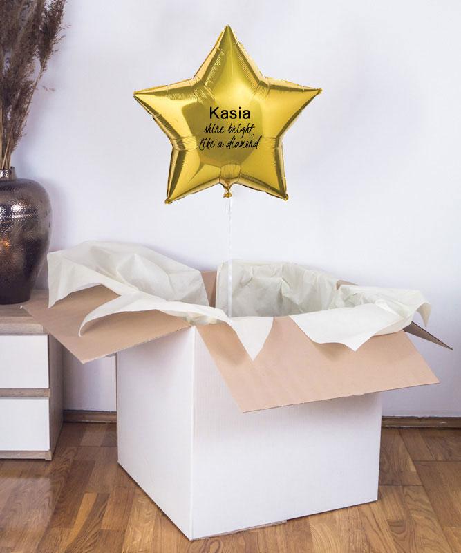 balon złota gwiazdka z helem