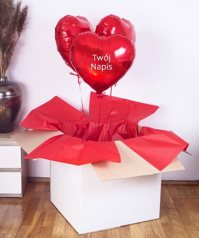 Balony czerwone serce z helem w pudełku + Twój napis