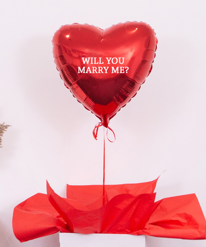Balon czerwone serce z helem – Will You Marry Me