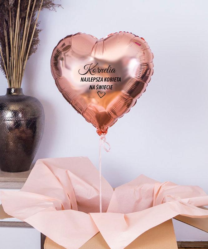Balon z helem serce różowe złoto na prezent – Najlepsza Kobieta Na Świecie