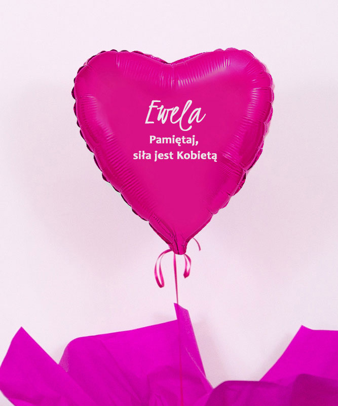 Balon różowe serce z helem w pudełku – Siła jest Kobietą
