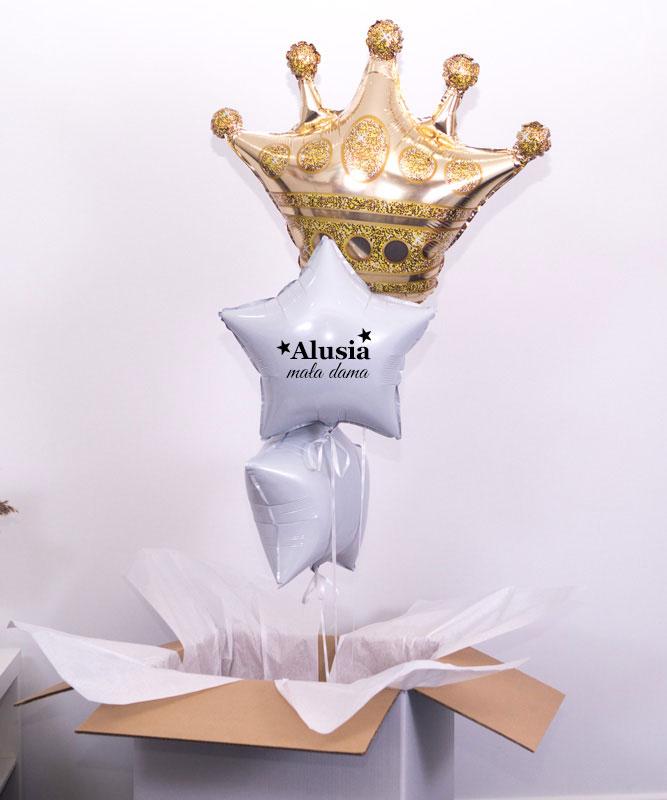Trzy balony z helem w pudełku dla dziewczynki – Mała Dama