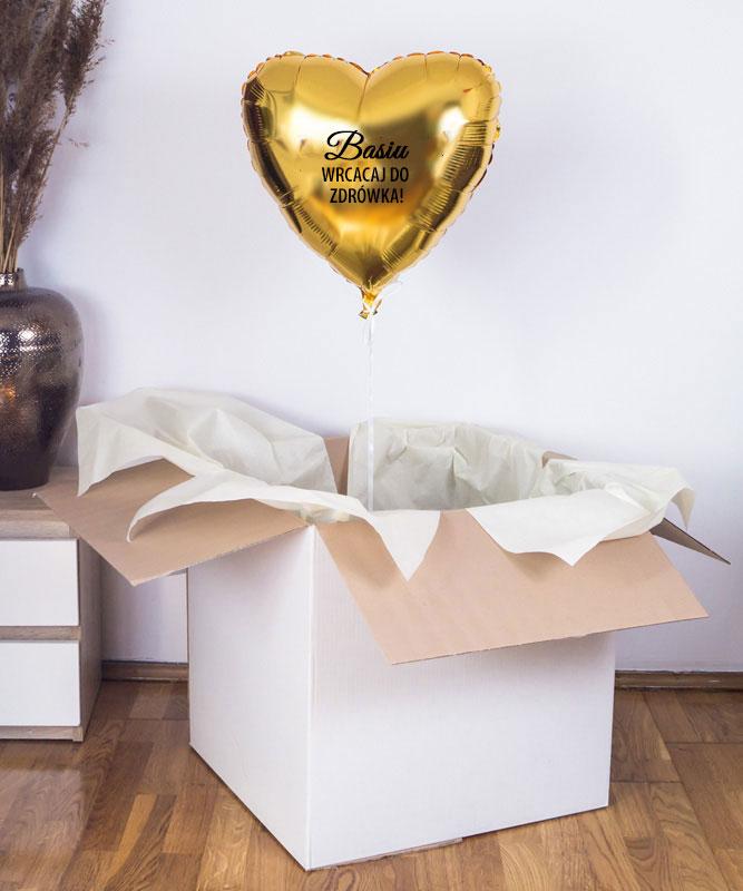 Balon złote serce z helem w pudełku na prezent – Wracaj do zdrowia
