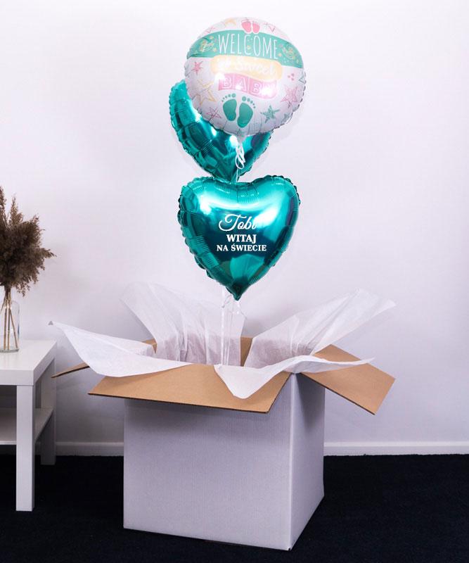 Trio balonowe w pudełku na prezent – Hello Sweet Baby