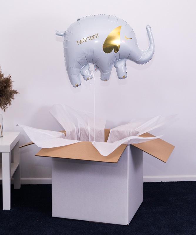 Balon słonik na szczęście z Twoim napisem
