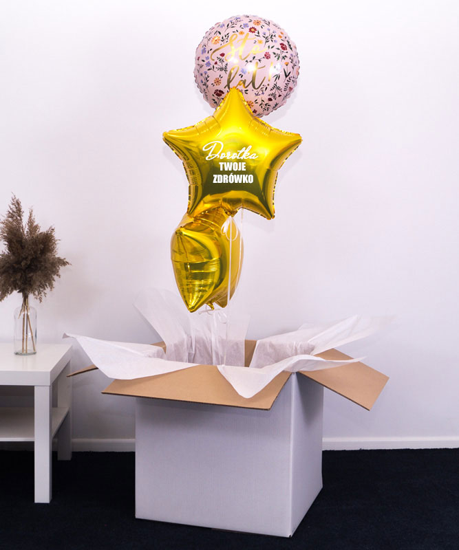 Trzy balony z helem w pudełku na prezent – Kwiatowe Sto Lat