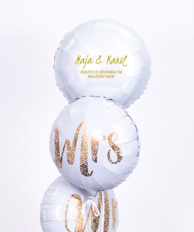 Trzy balony z helem w pudełku na ślubny prezent – Małżeństwo