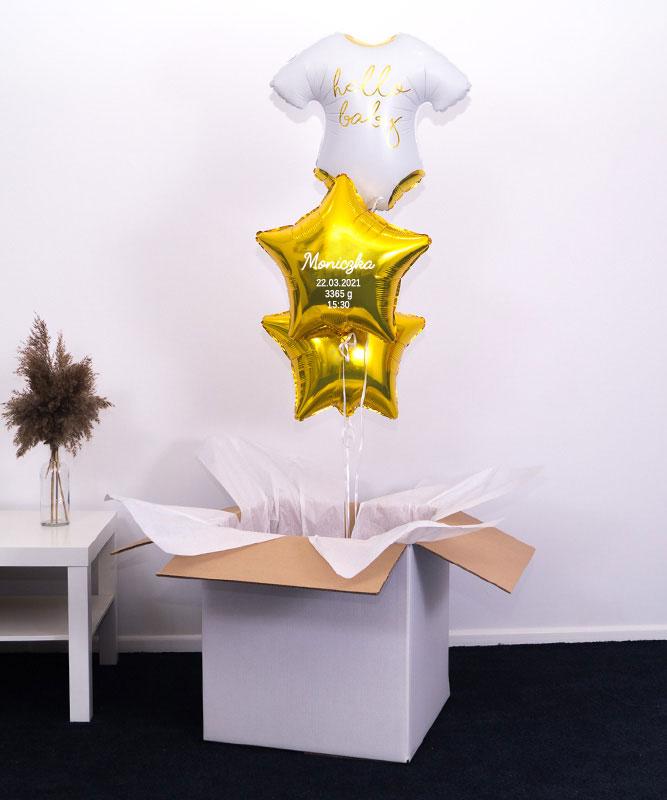 Trzy balony z helem w pudełku na narodziny dziecka – Metryczka